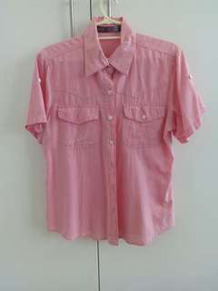 Pink short-sleeved button down