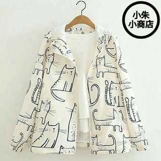 [PO] Spring New Women Jacket Mori Girl Cute Cat Print Loose Zipper Hooded Long Sleeve Casual Jacket Coat