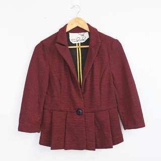 TABITHA Vintage Style Red Multi-Color Knitted Blazer Jacket