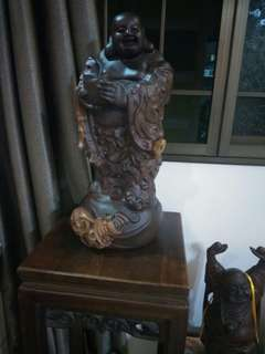 Side table and wood Buddha cheap sales