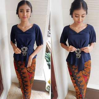 Modern Kebaya Sabrina Top Only in Navy Colour