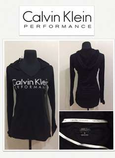 Calvin Klein Performance Quick Dry Logo Hoodie Shirt- Black /Platinum
