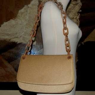 PRADA cammello tessuto swing bag
