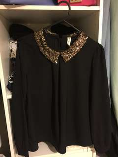Black sequin collar blouse