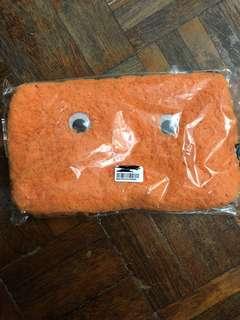 日本 cram cream 橙色毛毛袋 筆袋 化妝袋