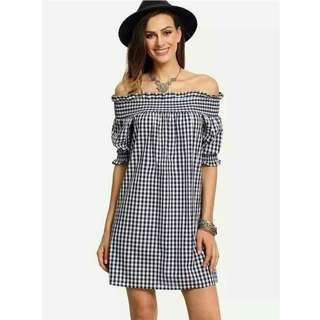 Offshoulder Gingham Mini Dress