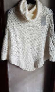 TERRANOVA WOMEN'S KNITTED COWL NECK PONCHO SWEATER, free size