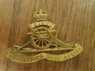 Genuine and Rare WW2 British Army South Africa Royal Artillery brass cap badge