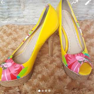 Primadonna Yellow Floral Heels