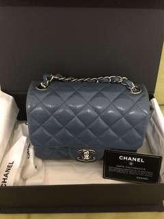 Chanel灰藍荔枝皮17cm