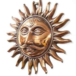 copper Sun God face in Copper