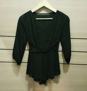 [NEW] Black Chiffon Top