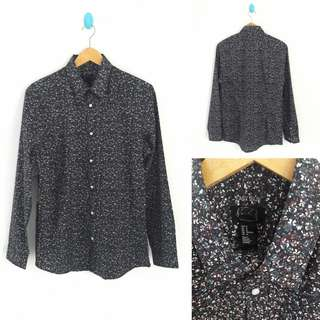 PROMO!! H&M Easy Iron Black Floral Slim Fit Shirt