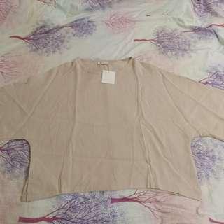 全新 Free size 麻色 柔軟 寬鬆闊衣