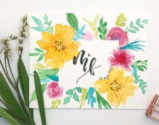 Customised Watercolour Floral Card (small)