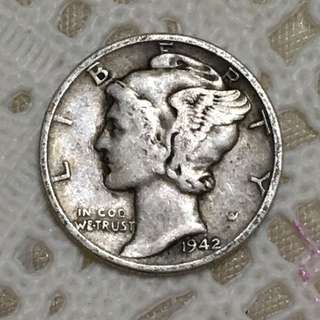 USA Mercury Dime 1942 Silver Coin