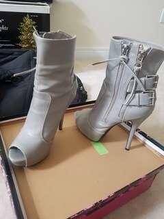 Grey ankle heels
