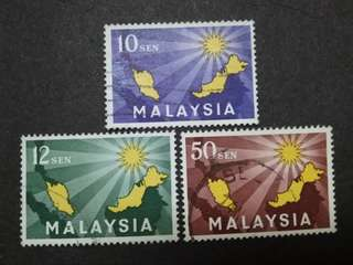Malaysia 1963 Inauguration Of Federation Complete Set - 3v Used Stamps #3