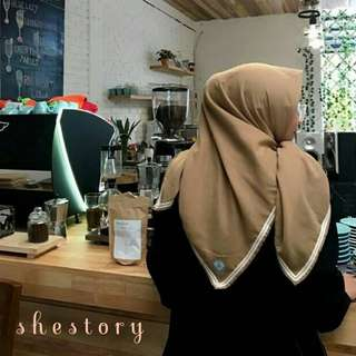 Plain Voal Cokelat Bordery by. shestory.co