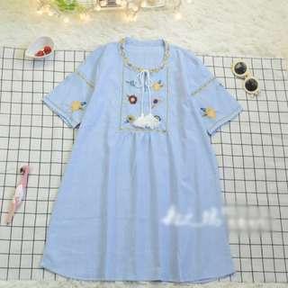 🚚 日系小清新森林刺繡綁帶連身裙