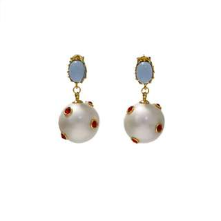 歐美時髦百搭個性藍色水晶珍珠吊墜耳環