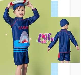 .°。.☆小婷來福*.D5兒童泳衣大鯊長袖兒童泳衣小朋友游泳衣正品,售價650元