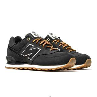 New Balance Mens 574 Suede Sneakers - Black - ML574HRD