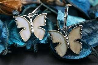 Navia Jewelry Real Butterfly Wing Morpho sulkowski Silver Earrings Korea