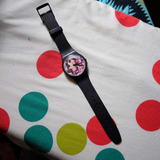 SWATCH Black rubber watch authentic USED