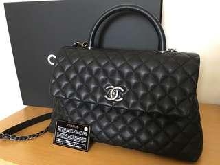 🚚 Chanel 黑色荔枝紋handle 兩用包32公分