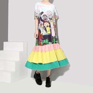 🚚 Printed cartoon short-sleeved T-shirt dress round collar  straight lotus leaf dress