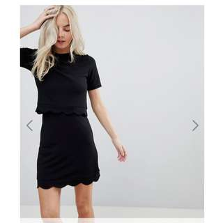 ASOS PETITE Scalloped Hem Mini Dress With Crop Top