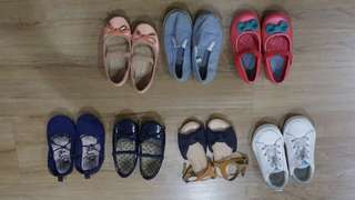 ALL 7 PAIRS of Girl shoes 3-4yr CLEARANCE
