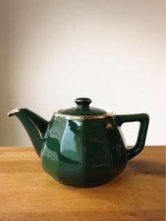 🚚 法國🇫🇷Apilco無標深綠釉色描金花茶瓷壺