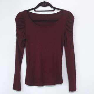 Maroon Long Sleeve Top with Ruching