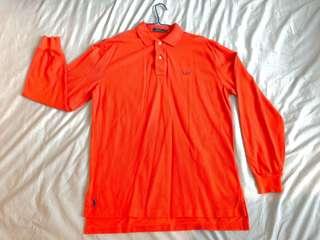 Men's Long Sleeve Orange Ralph Lauren Polo Shirt