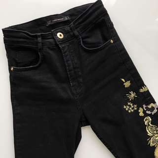 Zara black embroidered high-waisted jeans size 2 / XS / 24