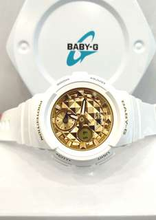 * FREE DELIVERY * Brand New 100% Authentic Casio BabyG White Gold Ana Digi Baby G Casual Watch Baby-G BGA-195M-7ADR