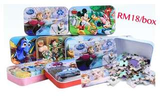 Disney 60pcs cartoon kids puzzle with s/steel box