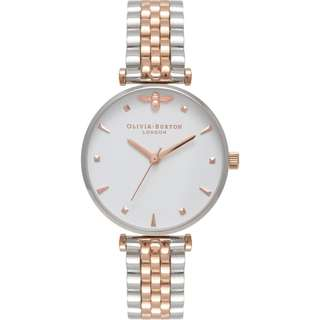 Olivia Burton Queen Bee T-Bar Bracelet Silver and Rose Gold Watch OB16AM93 30mm
