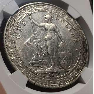 英國貿易銀幣 站洋 NGC AU Details 銀幣收藏