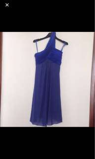 😱清櫃價 包郵 royal blue one shoulder cocktail dress 寶藍色晚裝裙clearance sale, no bargain, no Meetup, only by delivery 包郵 postage included