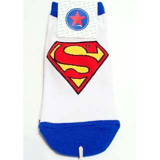 韓國超人標誌圖案平版短襪(白藍