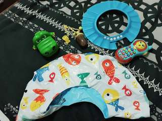 🚚 幼兒小魚兒游泳圈嬰兒寶寶小泳圈洗頭檔水遮水板頭套