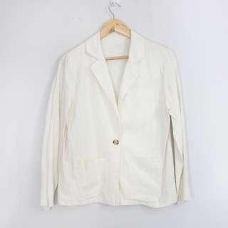 [RESERVED] Vintage Off-White Slim Linen Blazer Jacket (S-M)