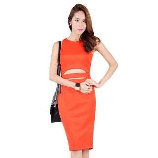 Ohvola Imogen Cut Out Bodycon Midi Dress in Orange