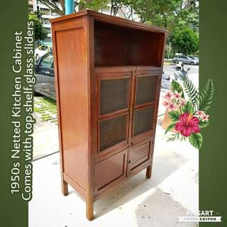 1960s Netted Kitchen Cabinet. Good & Clean Condition, the net is still good. Comes with Sliding Glasses for top compartment. $348 offer, sms 96337309.