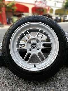 Rim baru enkei rpf1 15 inch sports rim jazz tyre 70% * mora mora kasi you!! Tiberrrrrrrrrr *
