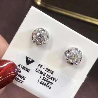 (推薦)18k1ct鑽石耳釘