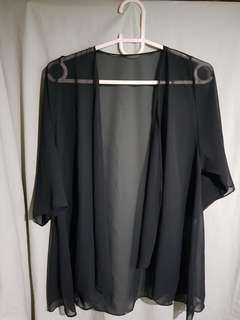 Black Sheer Fabric Kimono